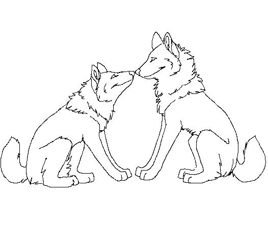 526x468 Free Wolf Couple Lineart 2 By Machinewolf2
