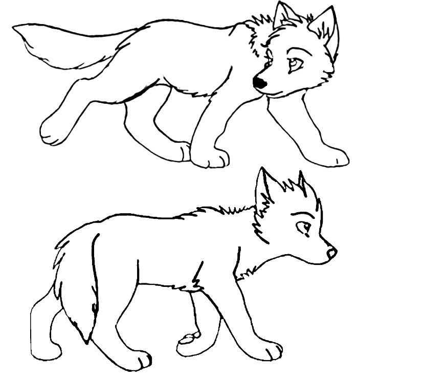 872x745 Anime Wolf Pup Base Wolf Pup Lineart By The1andonlyraven