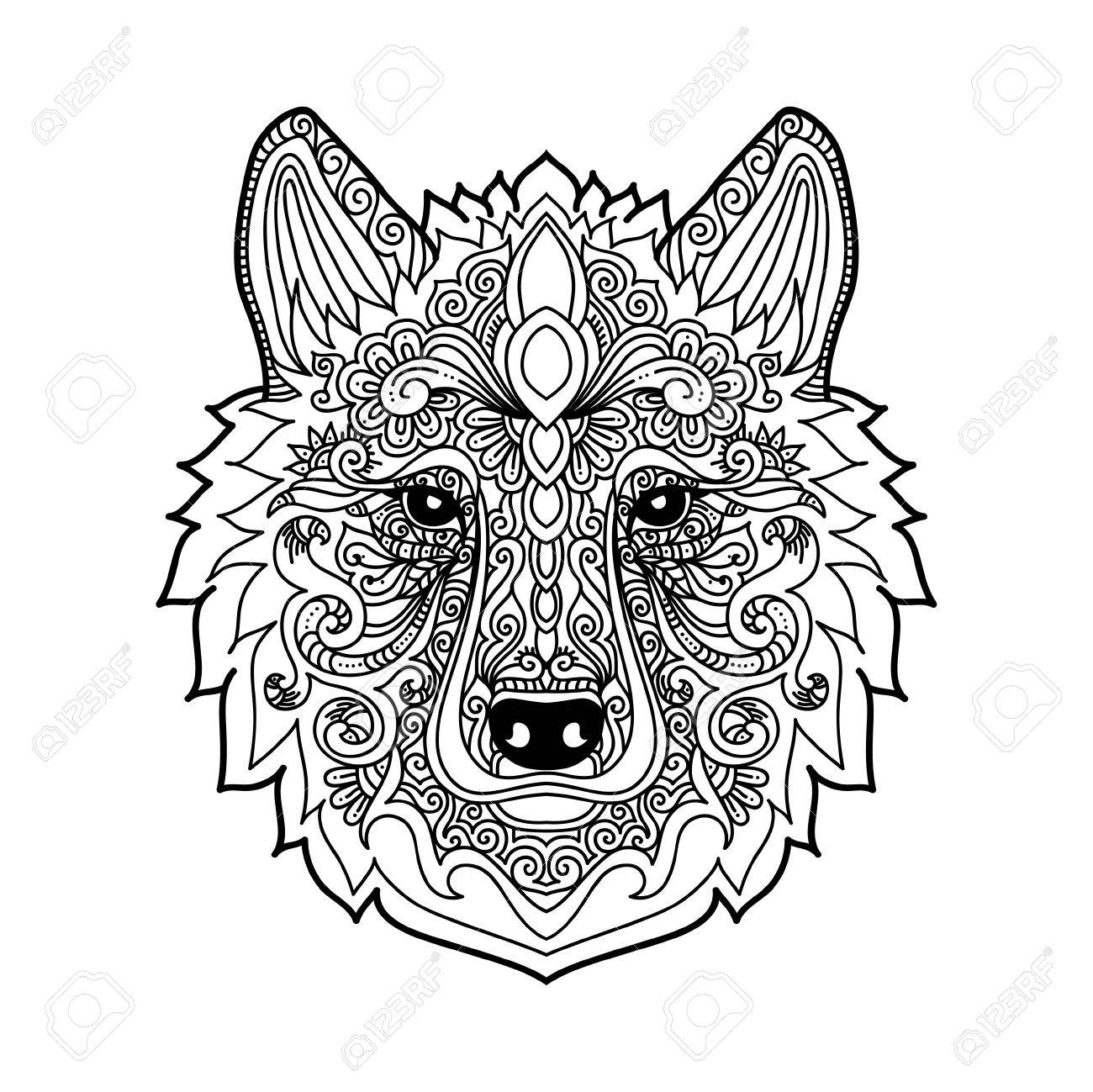 1300x1299 Hand Drawn Wolf With Ethnic Floral Doodle Pattern Coloring Page