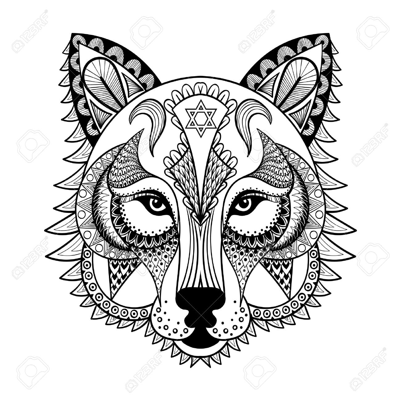 1300x1300 Vector Ornamental Wolf, Ethnic Zentangled Mascot, Amulet, Mask