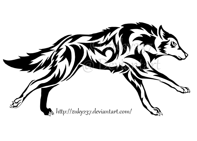 668x480 Running Wolf Tattoo By Zuky237