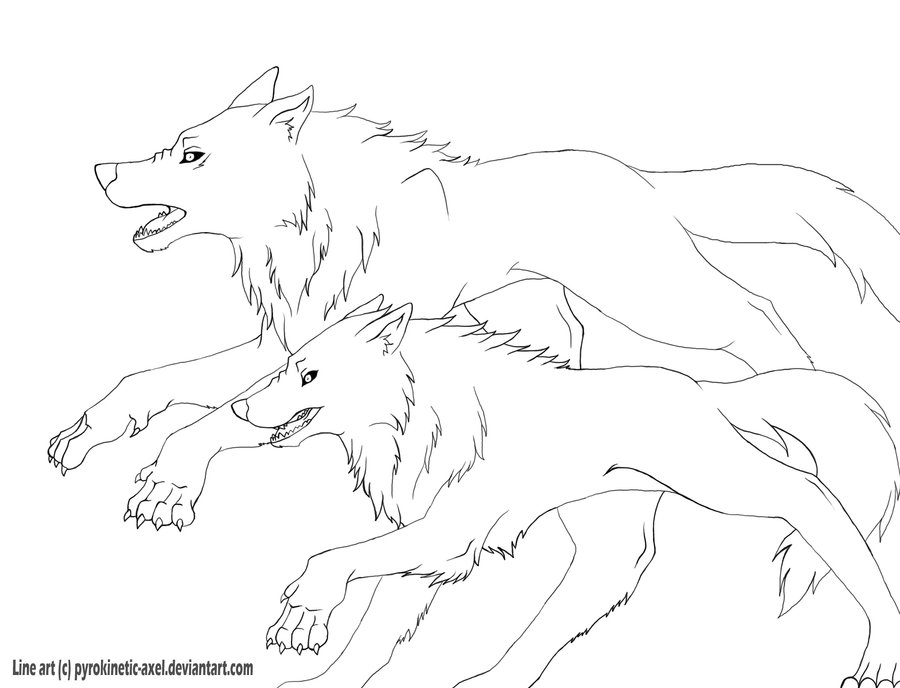 900x688 Running wolves lines by Sucrotine on DeviantArt
