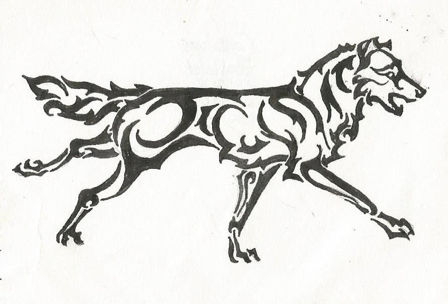 887x601 Tribal Running Wolf by LabradoriteEyes on DeviantArt