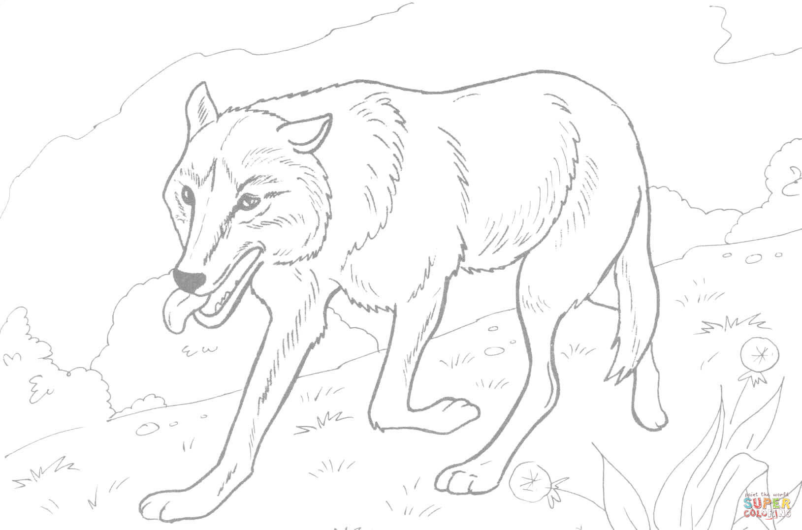 1629x1077 Wolf Running In The Forest Coloring Page Free Printable Coloring