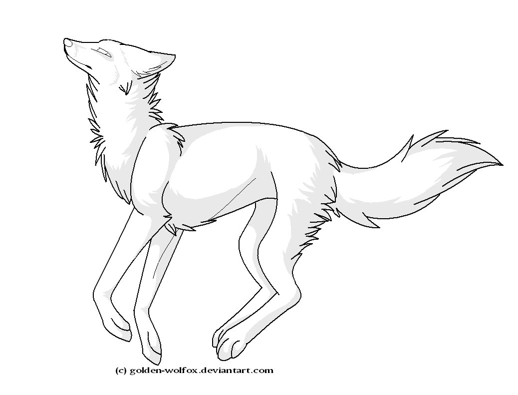 1038x791 Running Wolf Lineart By Golden Wolfox