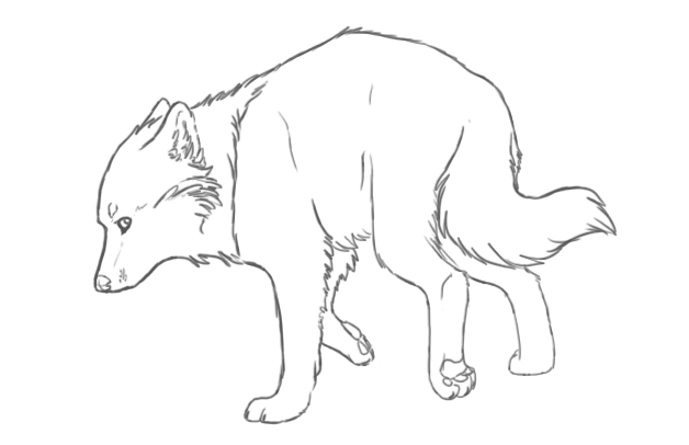 628x406 Running Wolf Sketch By Kaierra
