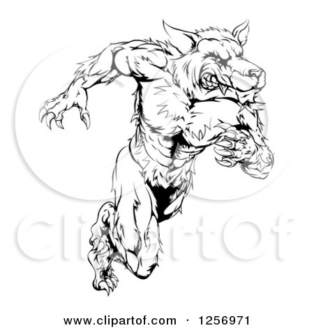450x470 Clipart Of A Black And White Muscular Wolf Man Running Upright