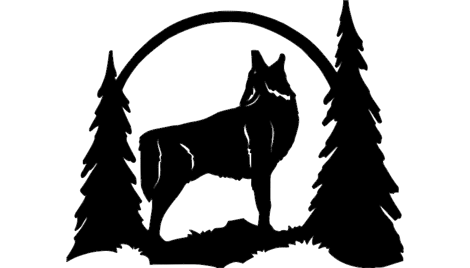 930x532 Howling wolf silhouette dxf File Free Download