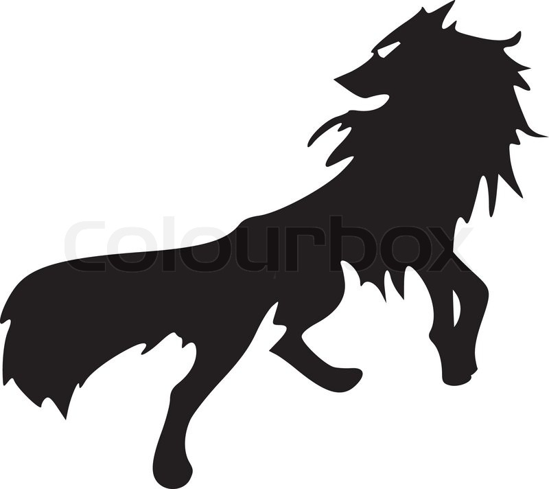 800x712 Silhouette of wolf Stock Vector Colourbox