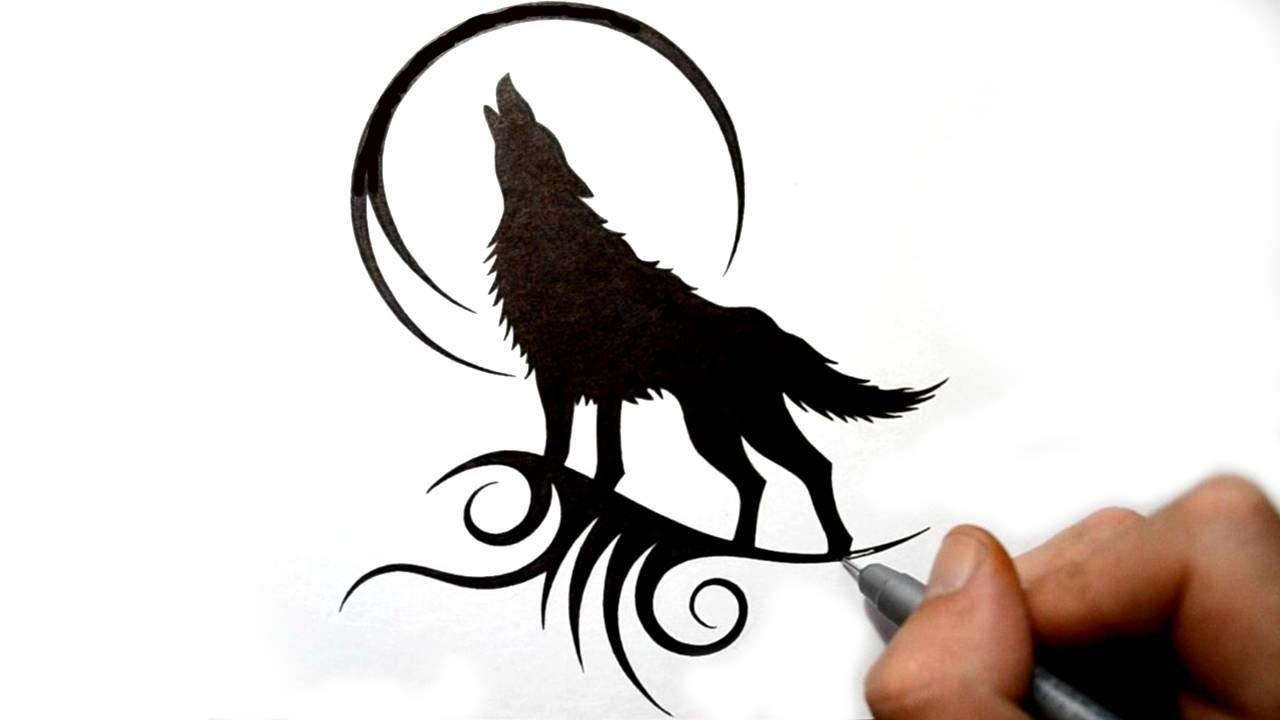 1280x720 Drawing A Howling Wolf Silhouette