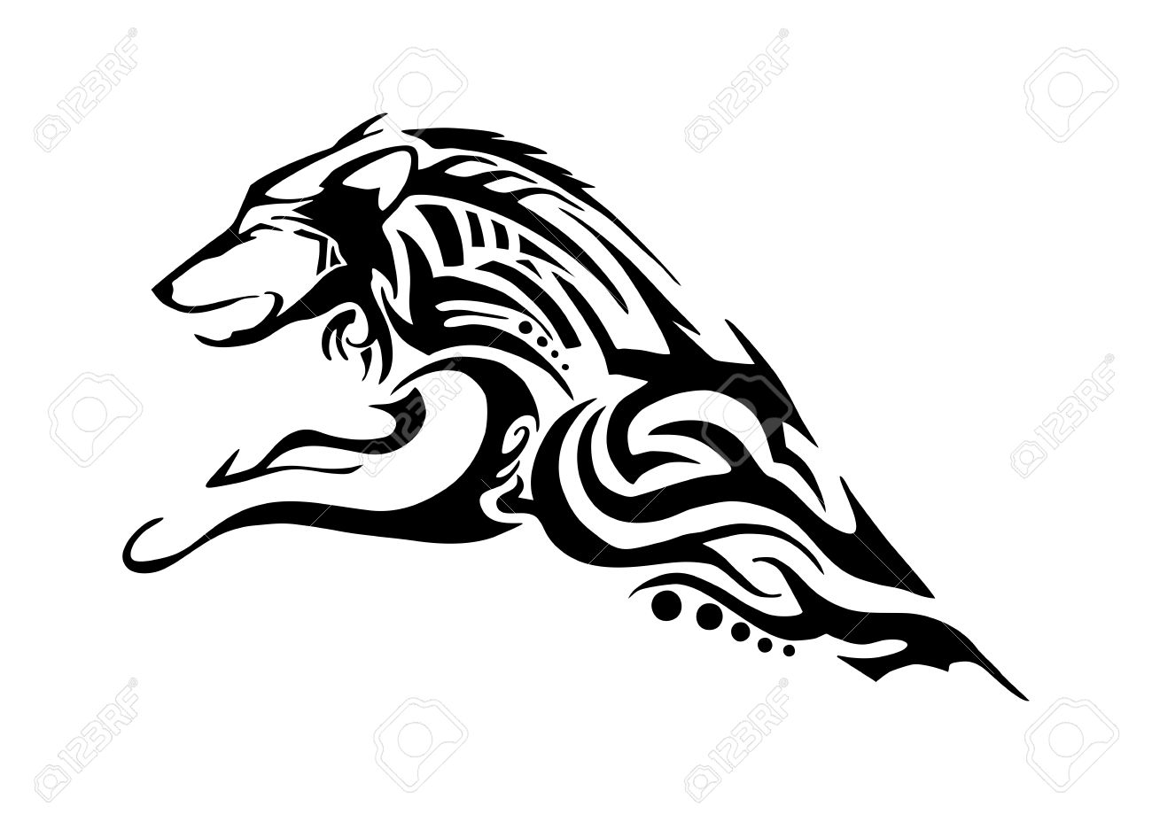 1300x919 Half Body Of Aggressive Wolf Jumping Tribal Tattoo Silhouette