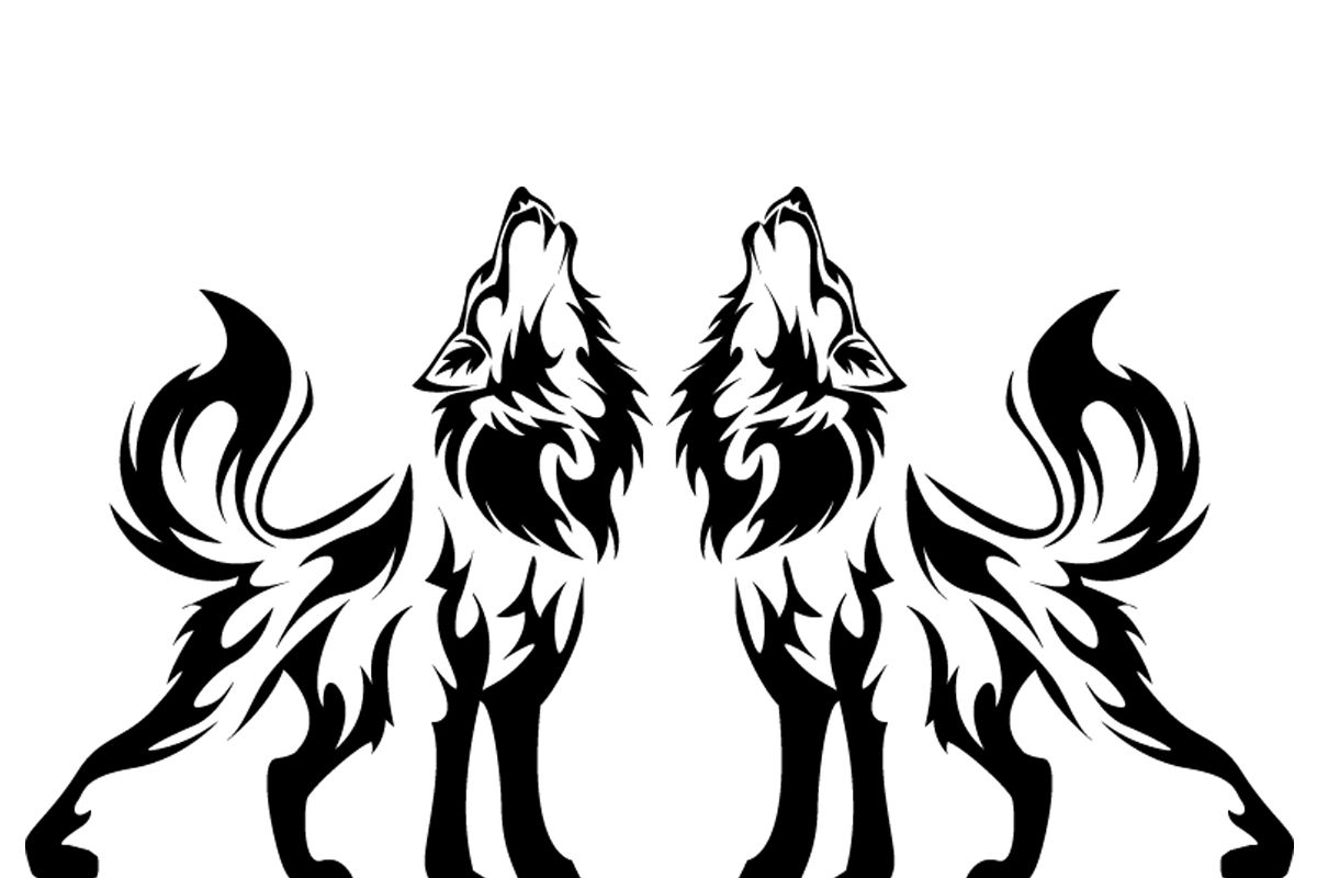 1200x800 Howling Wolves'' Silhouette