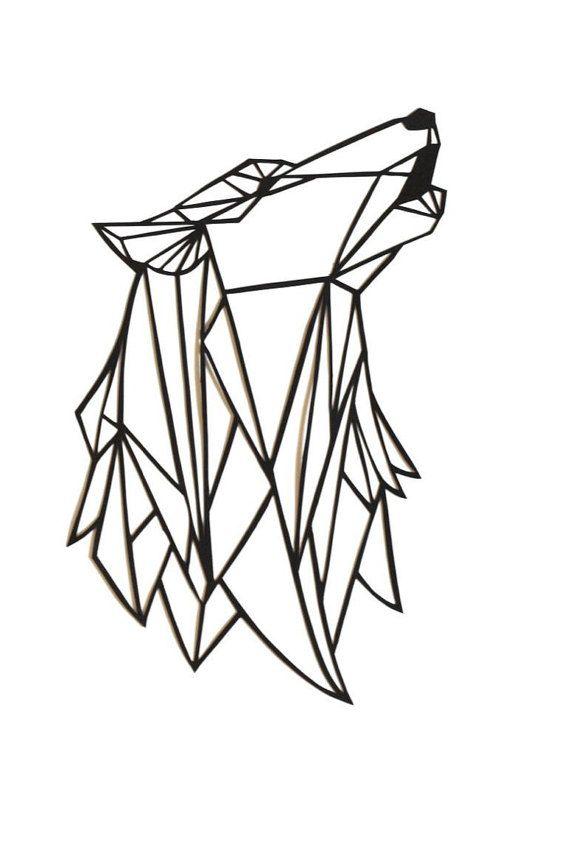 570x853 Original Wolf Papercut Art 7x5.5 Geometric Paper Original Howling