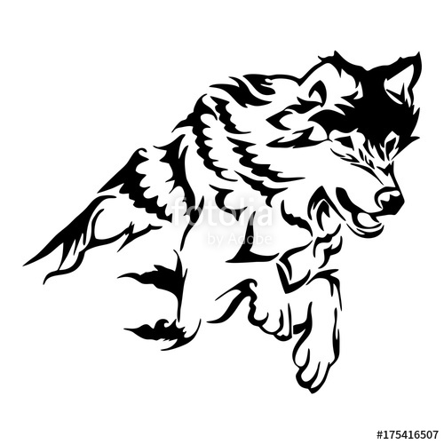 500x500 Silhouette tribal soar wolf jumping tattoo vector Stock image and