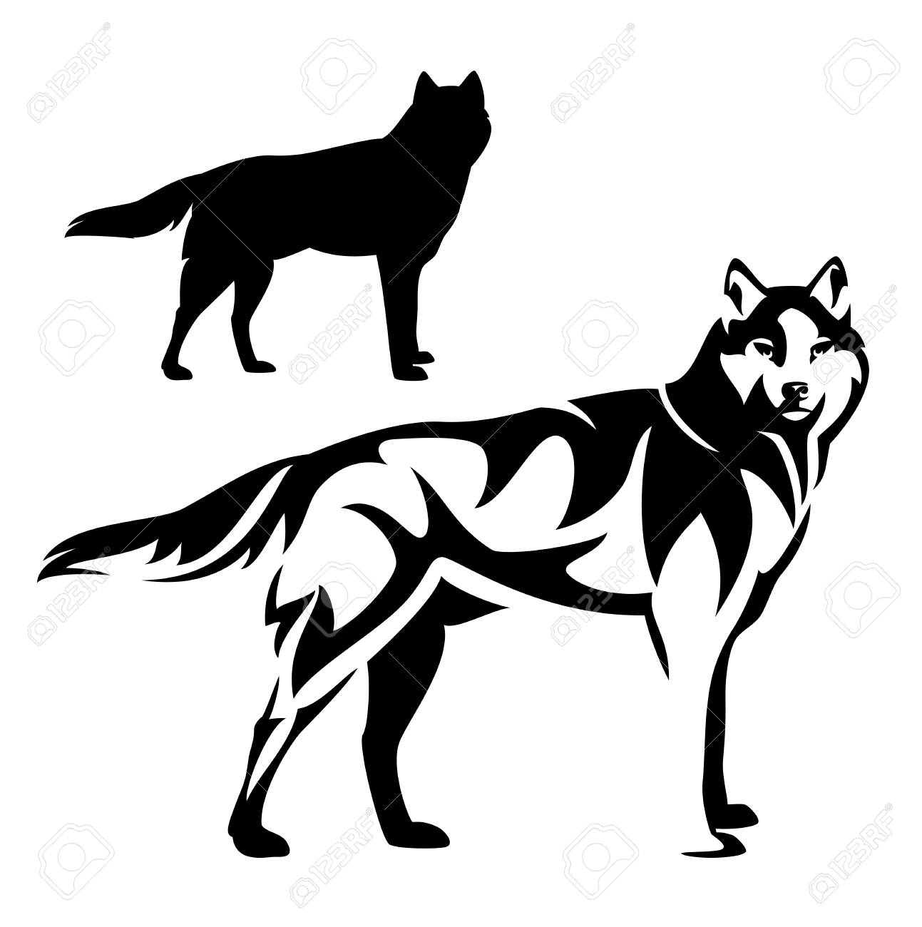 1293x1300 Standing Wolf Black And White Vector Outline And Silhouette Design