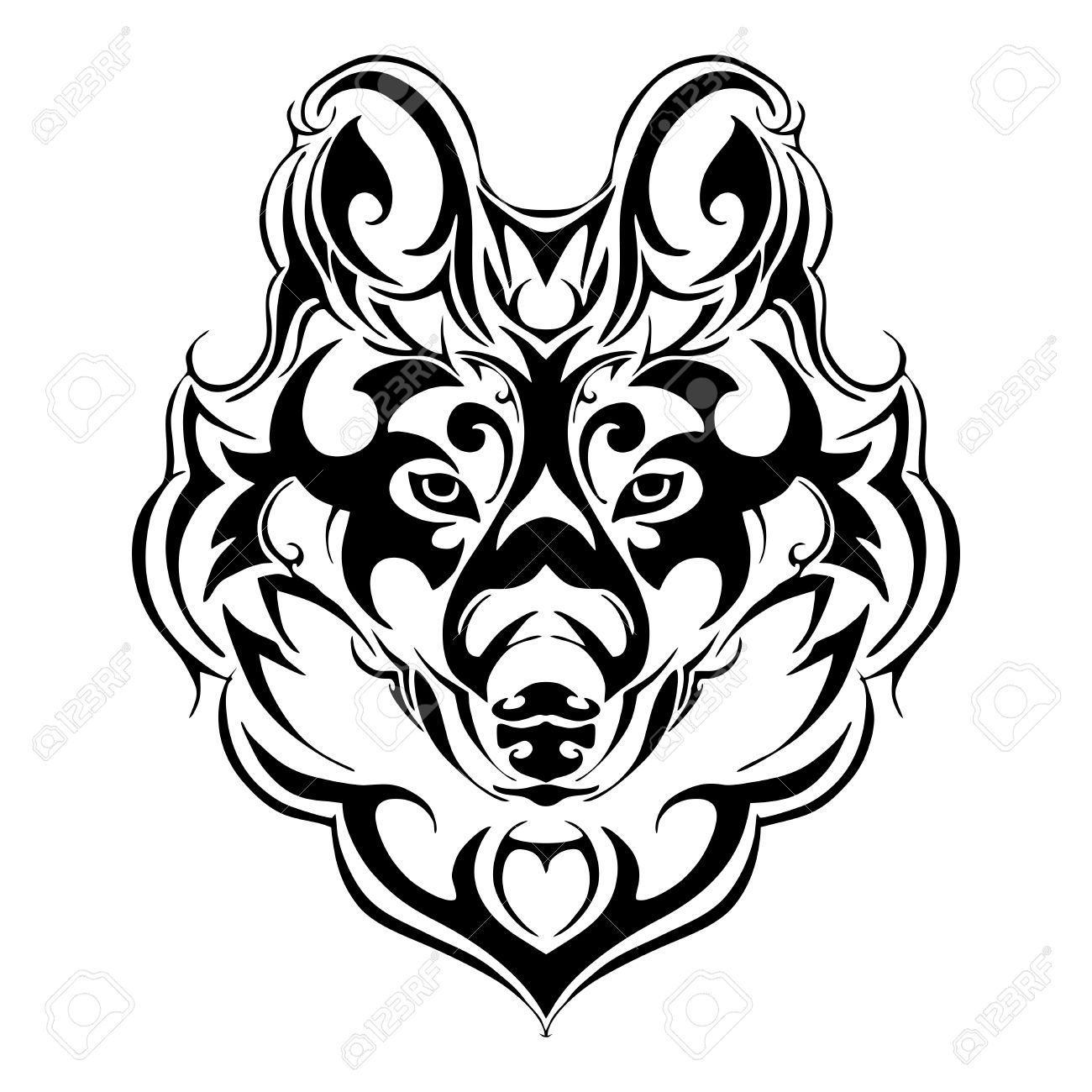 1300x1300 Terrorize Wolf Head Tribal Tattoo Silhouette Isolated Vector