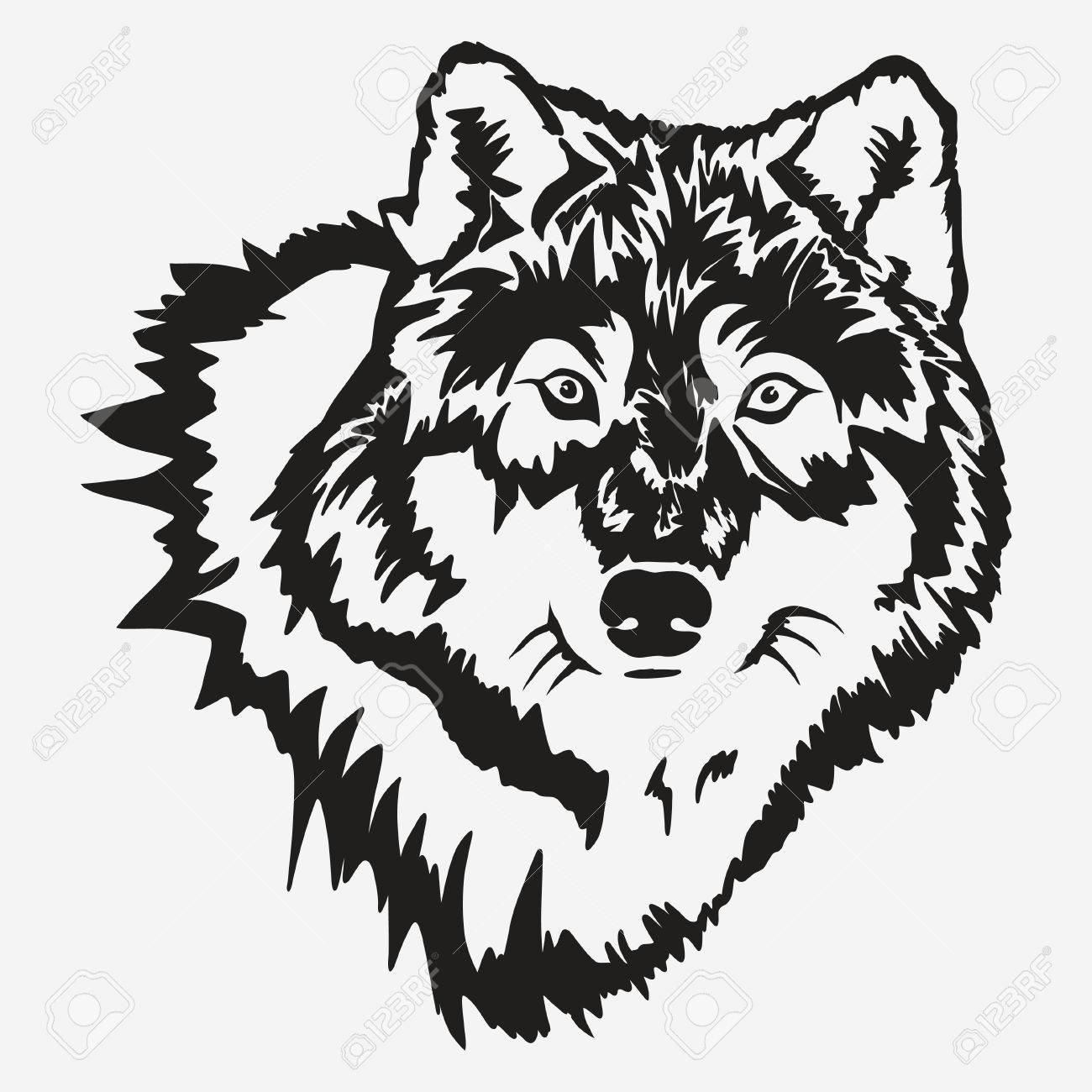 1300x1300 Wolf Bolt Emblem, Mascot Head Silhouette, Sport Logotype. Template