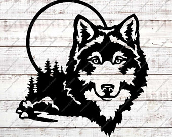 340x270 Wolf Silhouette Etsy