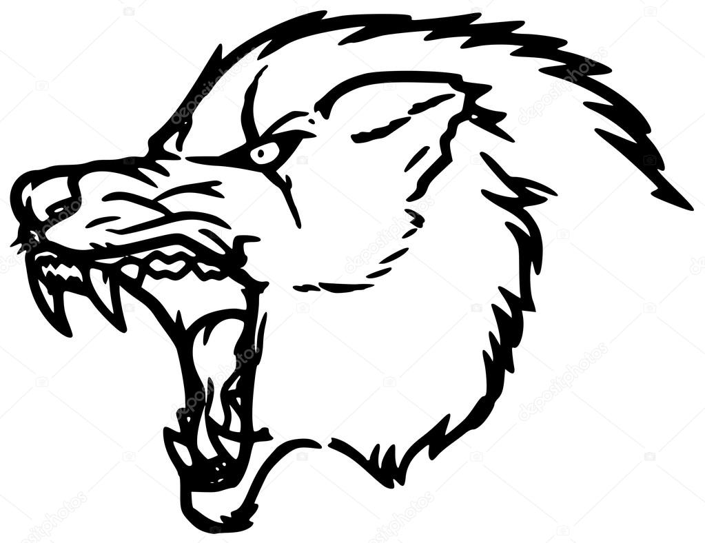 1023x788 scary wolf silhouette head — Stock Vector © Yyordanov