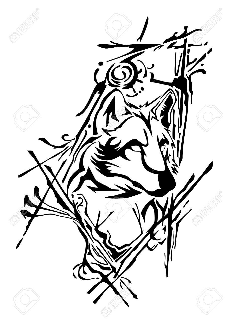 919x1300 A Silhouette Wolf Head Design With Ink Splash For Tattoo Vector
