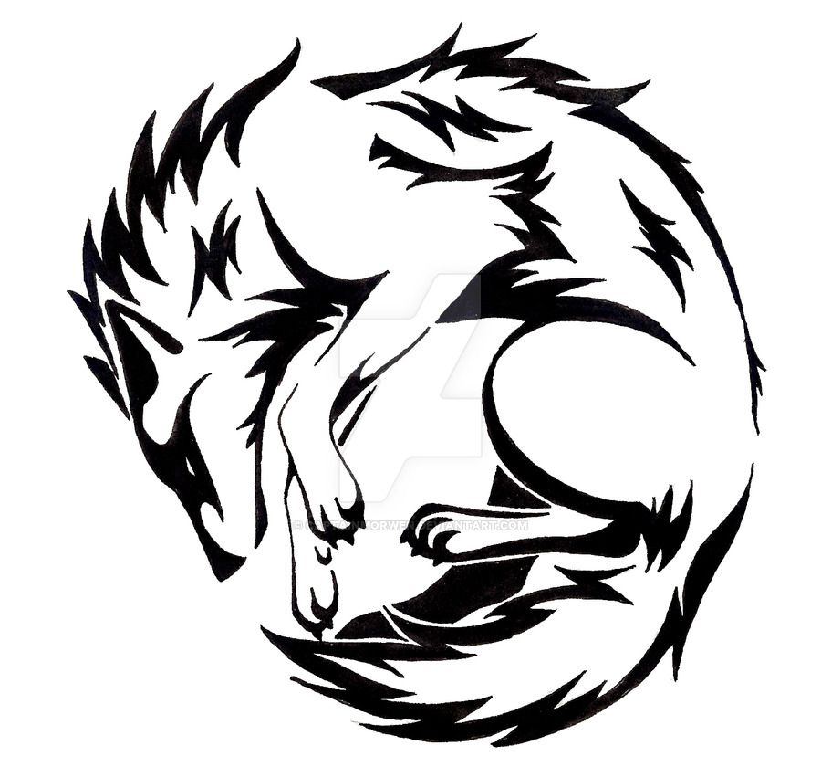900x851 Circle Wolf tattoo by CaptainMorwen on devaintart Tribal Designs