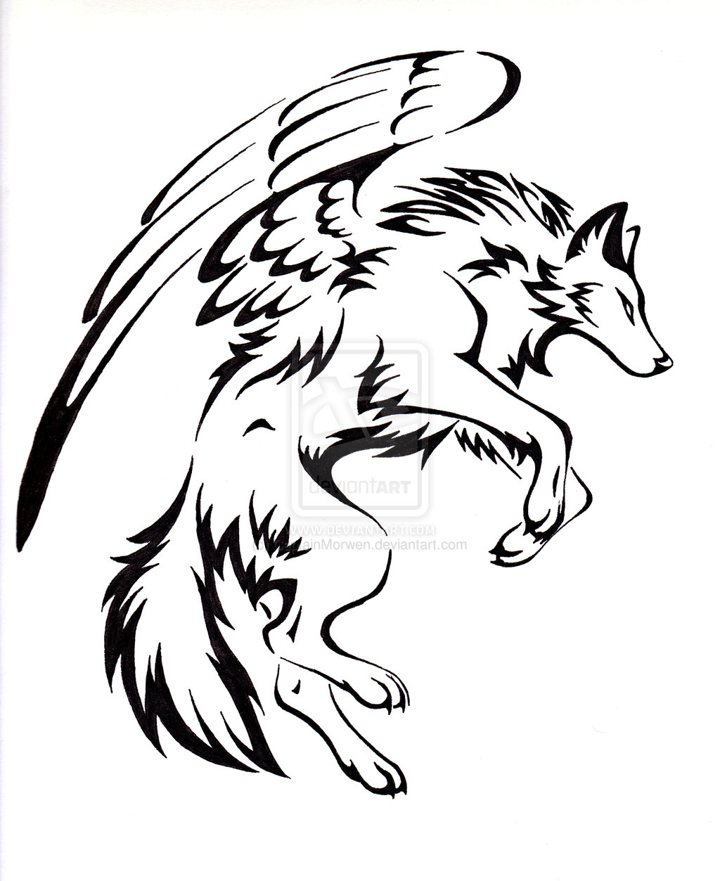 1024x1253 Courage Winged Wolf Tattoo by on