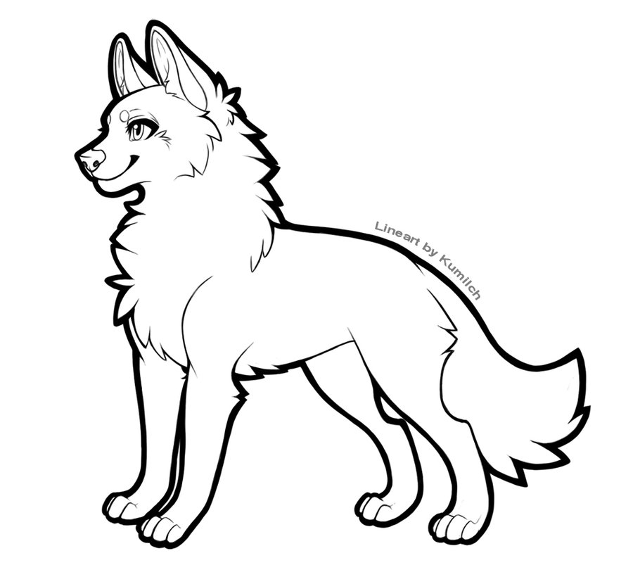 900x830 Free Wolf Lineart By Kumilch
