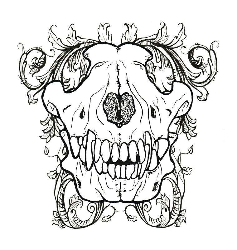 760x800 Wolf Skull Filigree Design No Bones About It Wolf