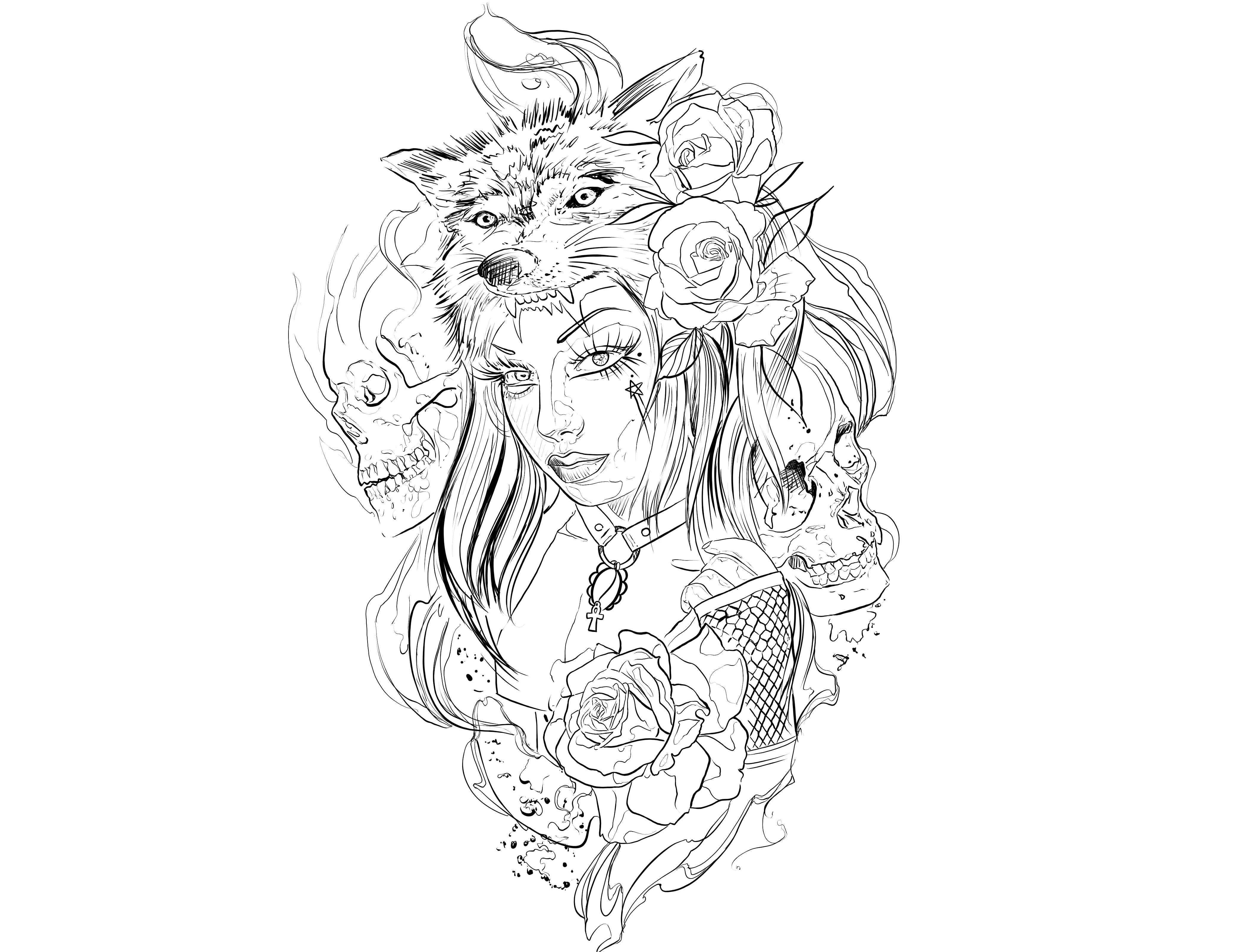 4200x3200 Wolf Skull Rosas Mulher Caveira Lobo Desenhos Tatoo