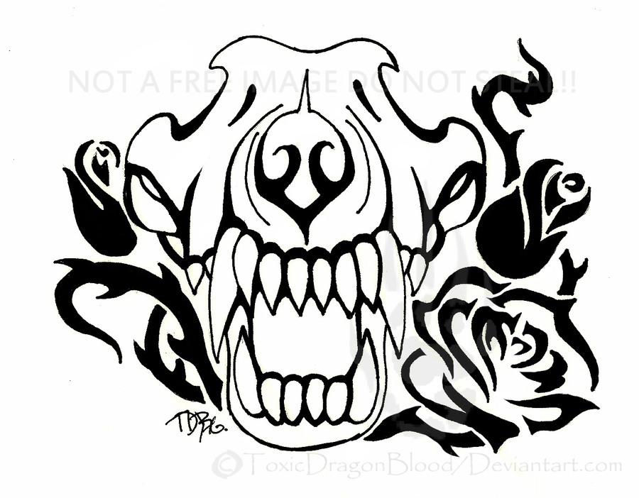 900x702 Wolf Skull And Roses By Toxicdragonblood