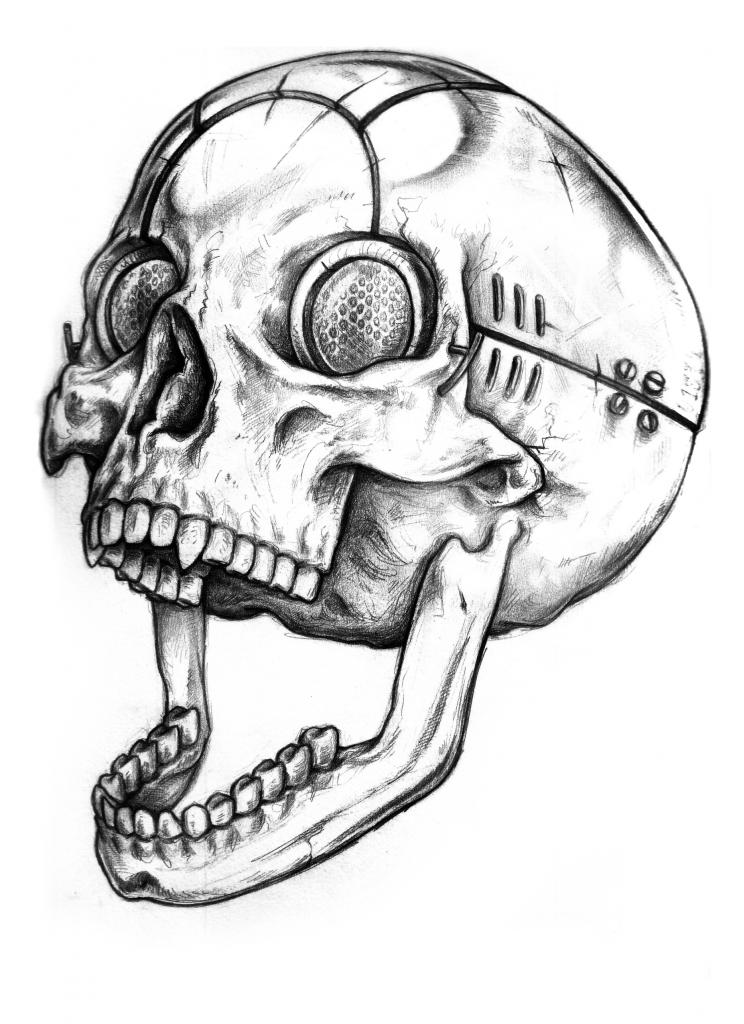 744x1024 Cyber Skull Tattoo Design By Wolfmweh