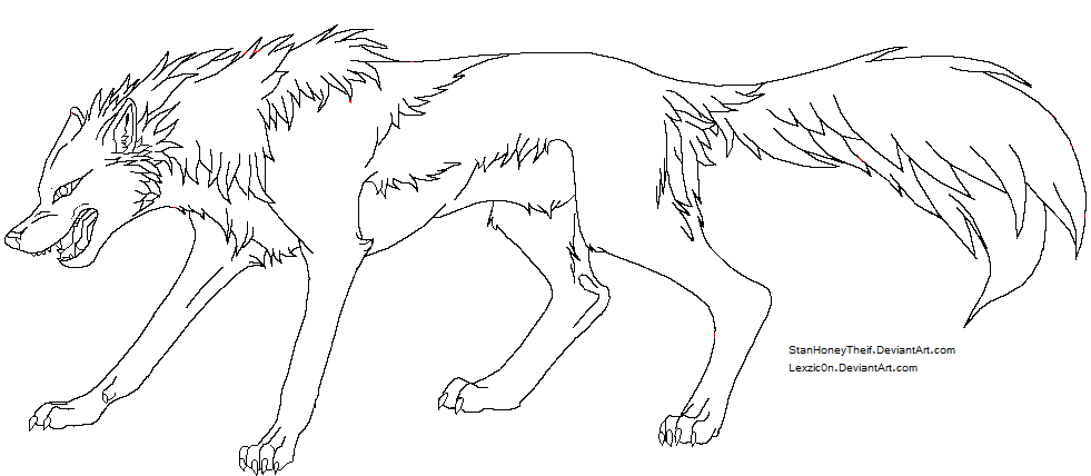 981x428 Snarling Wolf Lineart by Lexzic0n on DeviantArt