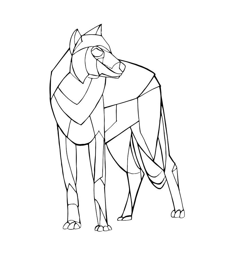 816x900 Geometry Wolf Drawing By Frespirit