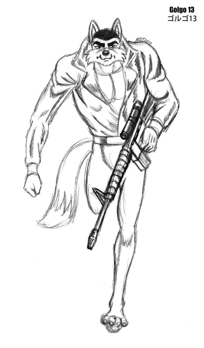 684x1167 Golgo 13 Wolf Sketch By Mdtartist83
