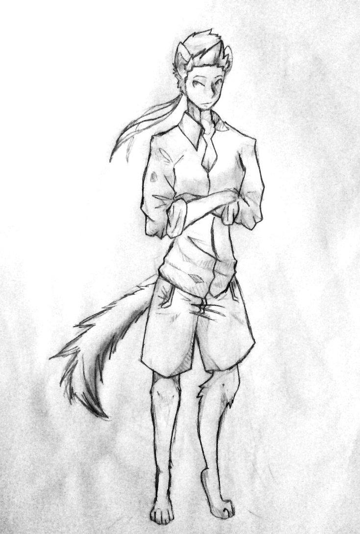 734x1088 Half Man Half Wolf By Halfthesun