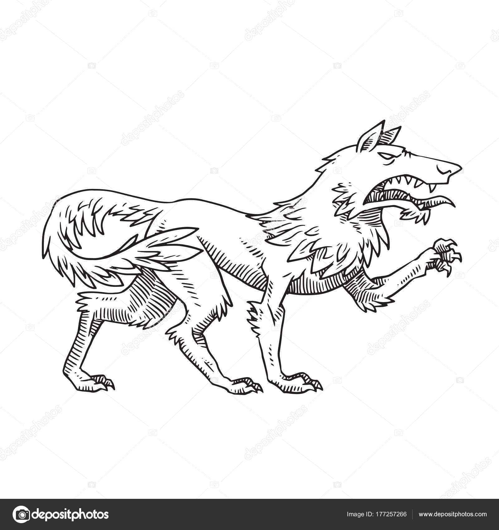 1600x1700 Heraldic Wolf Standing Turned Right And Growling, Monochrome Sty