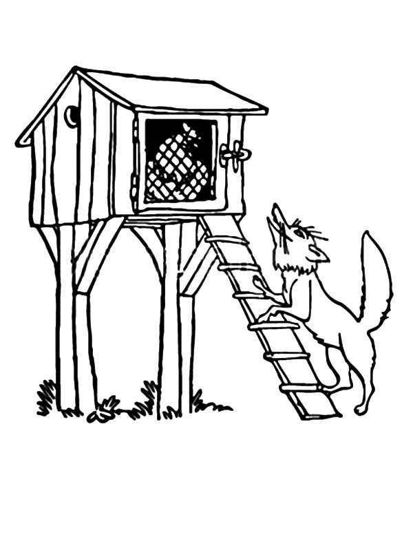 600x783 How To Draw A Chicken Coop A Wolf Standing Under Chicken Coop