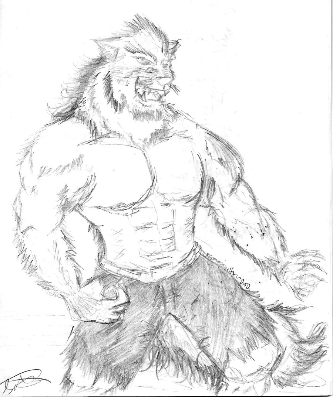 900x1075 Buff Humanoid Werewolf Sketch By Xsamuraiwolfx