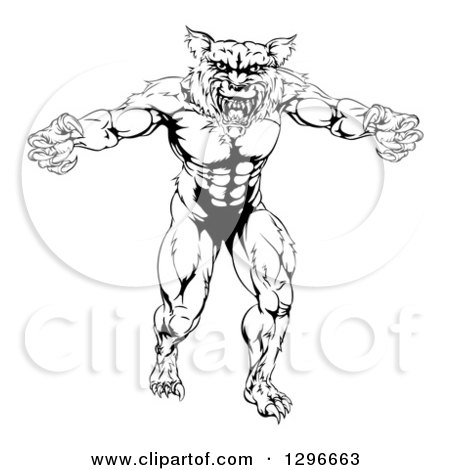 450x470 Clipart Of Blacknd White Muscular Wolf Mascot Standing In