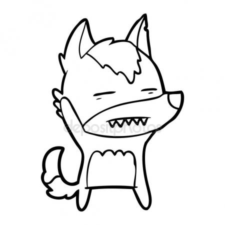 450x450 Cartoon Wolf Waving Showing Teeth Stock Vector Lineartestpilot