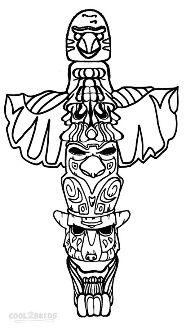 Wolf Totem Pole Drawing