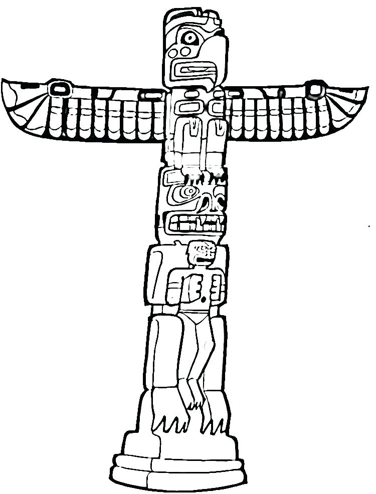 750x986 Totem Pole Coloring Page Drawn Totem Pole Tribal Totem Totem Pole