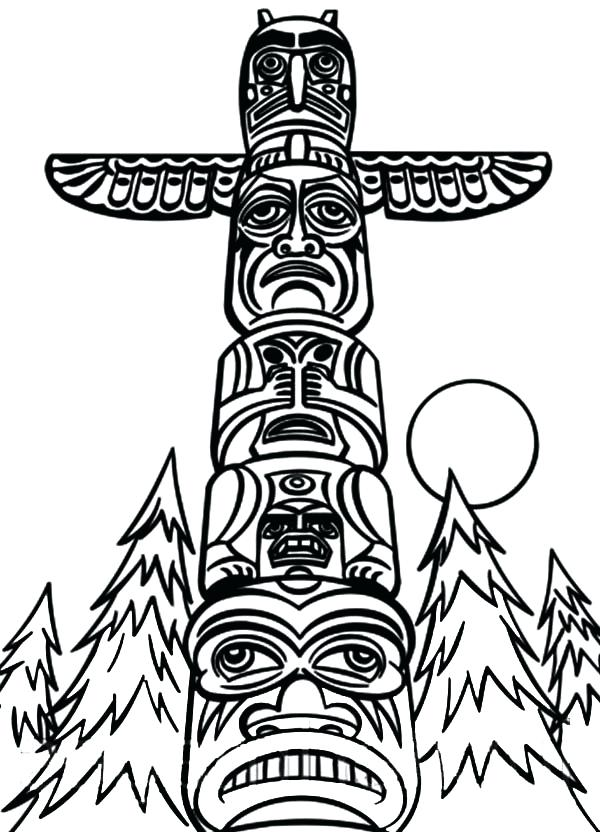600x832 Totem Pole Coloring Pages Various Tribe Totem Poles Coloring Page