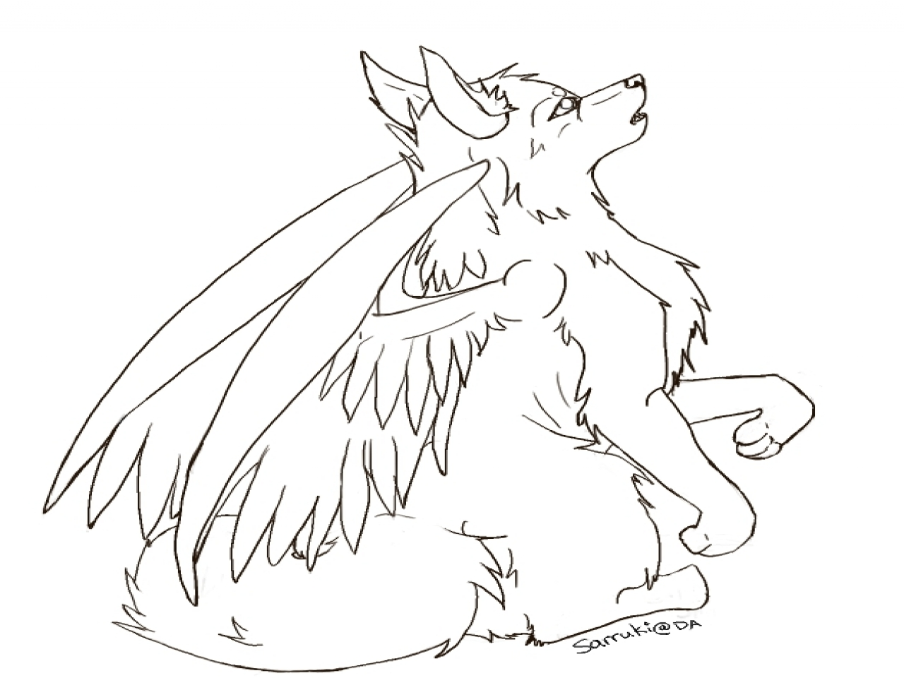1280x960 Head Base Coloring Wolf With Wings