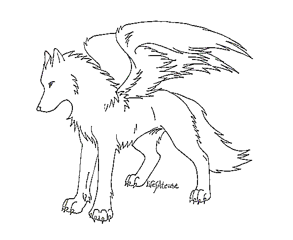 595x488 Winged Wolf Lineart By Ms Paint Friendly