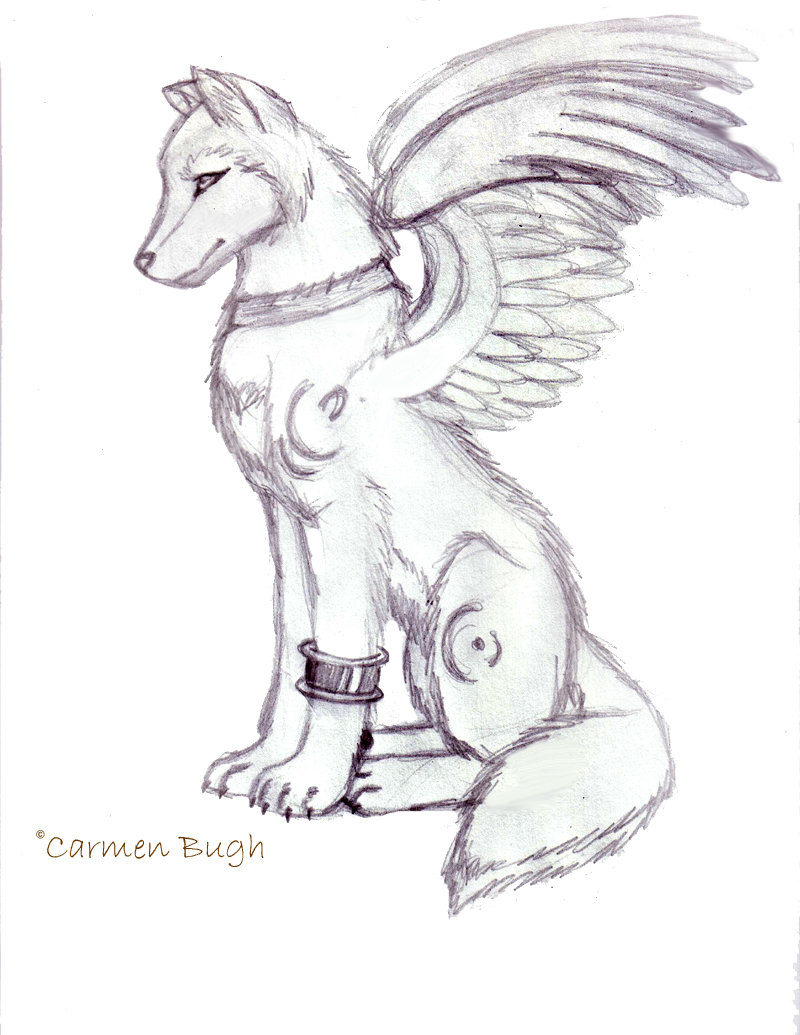 Wolf With Wings Drawing at GetDrawings Free for