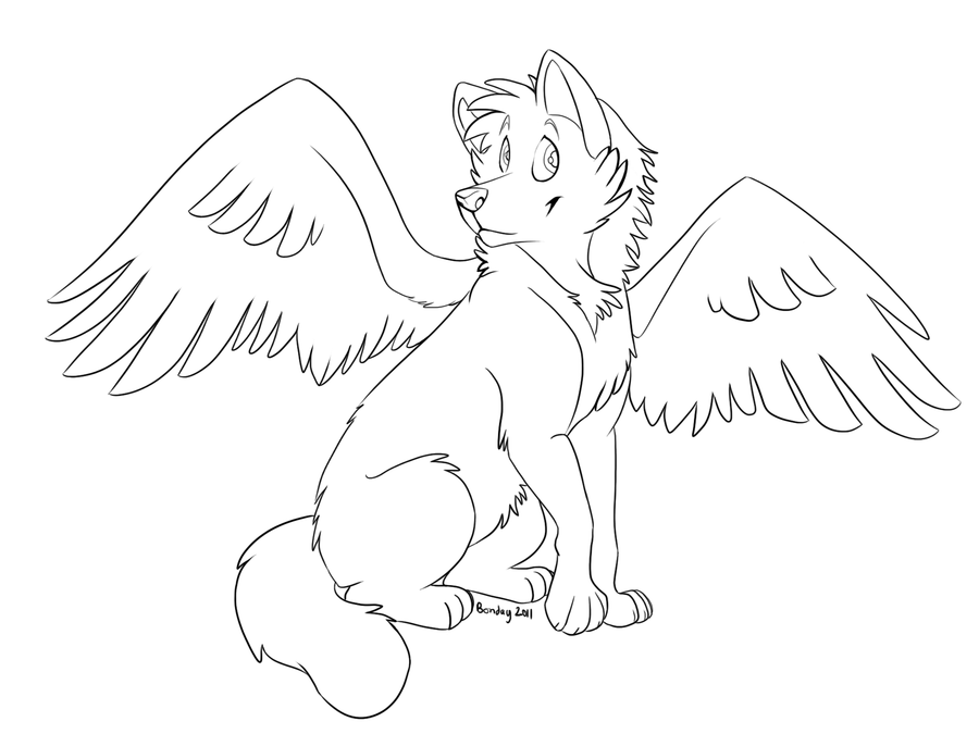 900x675 Winged Wolf Free Lines By Bonday