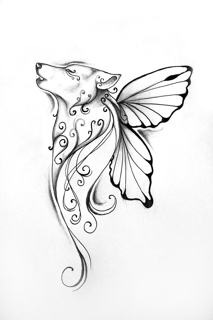 733x1100 Wolf With Butterfly Wings I Don'T Know If I Like This Tattoos