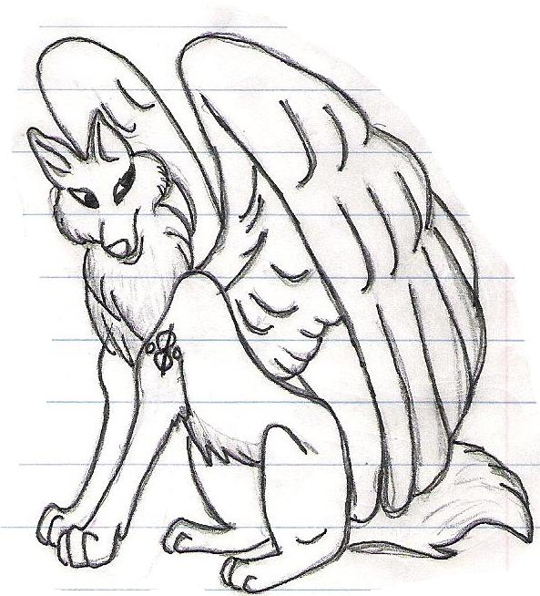 593x654 Wolf With Wings By Tsgreenfox