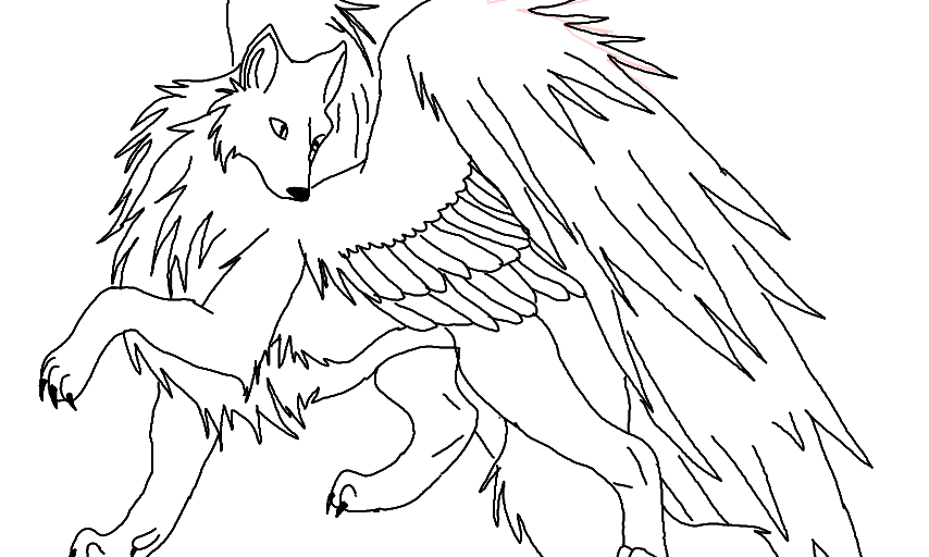 Wolf With Wings Drawing at GetDrawings | Free download